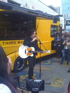 jackietime 225x300 Jack White Surprise Performance at SXSW Pop up Shop