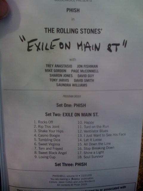 setlist Phish Exile on Main St. at Festival 8